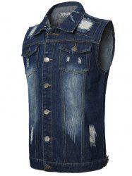 Double Chest Pocket Distressed Denim Vest -