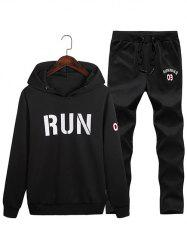 Run Print Pullover Hoodie with Sweatpants -
