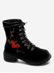 Chunky Heel Metal Floral Embroidery Ankle Boots -