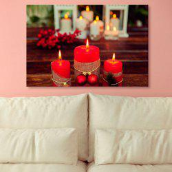Christmas Candle Print Canvas Wall Art Painting -