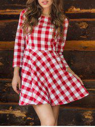 Plaid Flare Mini Dress -