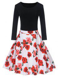 Vintage Floral Pin Up Skater Dress -