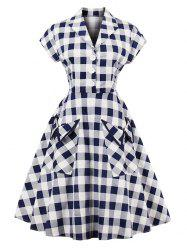 Vintage Pockets Plaid Henley Skater Dress -