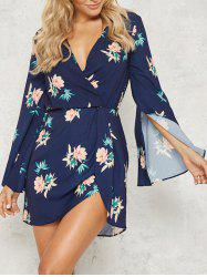 Split Flare Sleeve Floral Dress -
