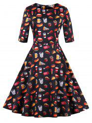 Plus Size Vintage Hamburger Pizza Print Dress -