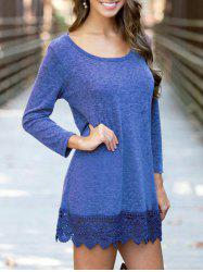Casual Sleeved Lace Hem Tunic Dress -