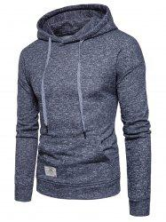 Drop Shoulder Drawstring Knitted Pullover Hoodie -
