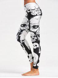 Halloween Skull Printed Workout Leggings -