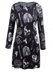 Plus Size Long Sleeve Halloween Skeleton T-shirt Dress -