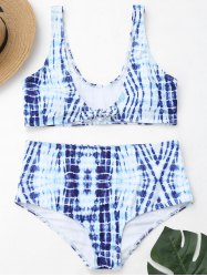 Tie-Dyed Plus Size High Waisted Swimwear -