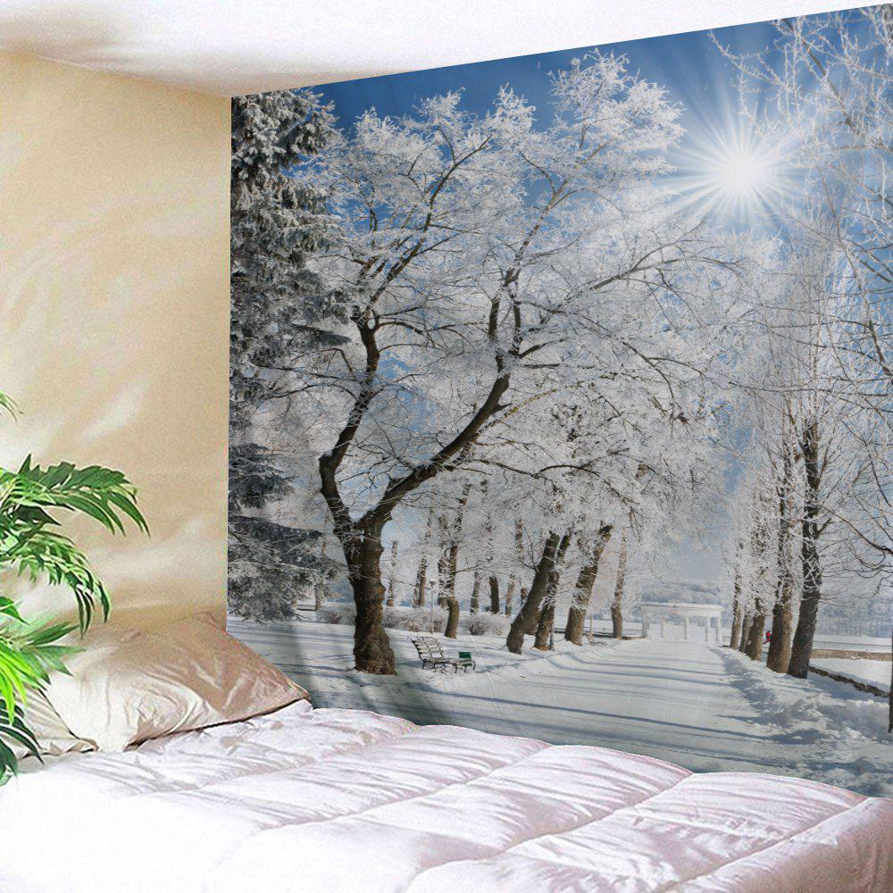 Snow Pathway Print Tapestry Wall Hanging Art DecorationHOME<br><br>Size: W91 INCH * L71 INCH; Color: GREY WHITE; Style: Fresh Style; Theme: Landscape; Material: Polyester; Feature: Washable; Shape/Pattern: Plant; Weight: 0.4000kg; Package Contents: 1 x Tapestry;