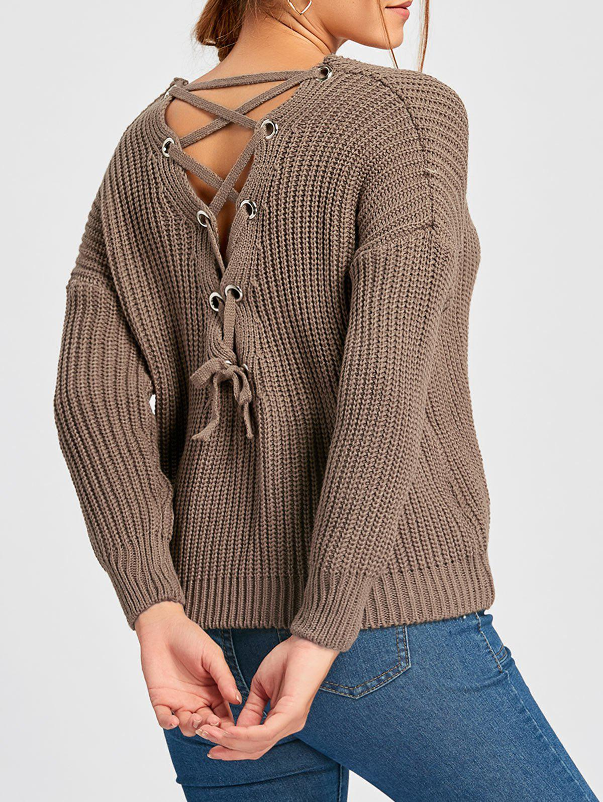 Shop Scoop Neck Back Lace Up Sweater