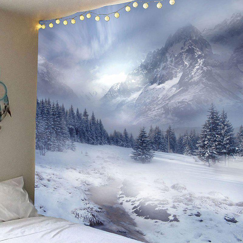 Snow Mountain Printed Waterproof Wall Decor TapestryHOME<br><br>Size: W59 INCH * L51 INCH; Color: GRAY; Style: Natural; Material: Velvet; Feature: Removable,Washable,Waterproof; Shape/Pattern: Mountain; Weight: 0.2100kg; Package Contents: 1 x Tapestry;