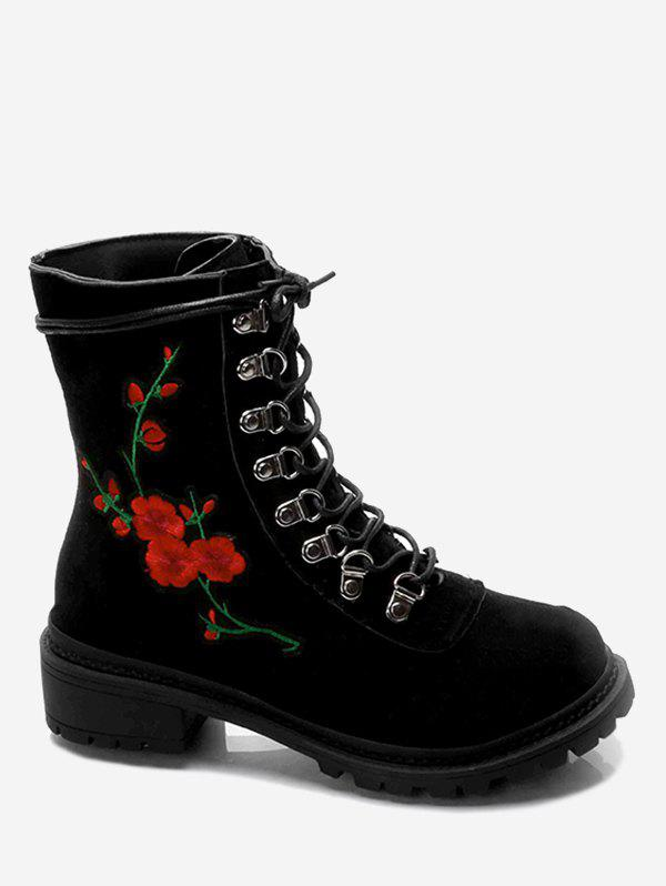 Chunky Heel Metal Floral Embroidery Ankle BootsSHOES &amp; BAGS<br><br>Size: 37; Color: BLACK; Gender: For Women; Boot Type: Fashion Boots; Season: Spring/Fall; Boot Height: Ankle; Toe Shape: Round Toe; Heel Type: Chunky Heel; Heel Height Range: Med(1.75-2.75); Heel Height: 5CM; Pattern Type: Floral; Closure Type: Lace-Up; Shoe Width: Medium(B/M); Embellishment: Embroidery; Upper Material: Suede; Weight: 1.1200kg; Package Contents: 1 x Boots (pair);