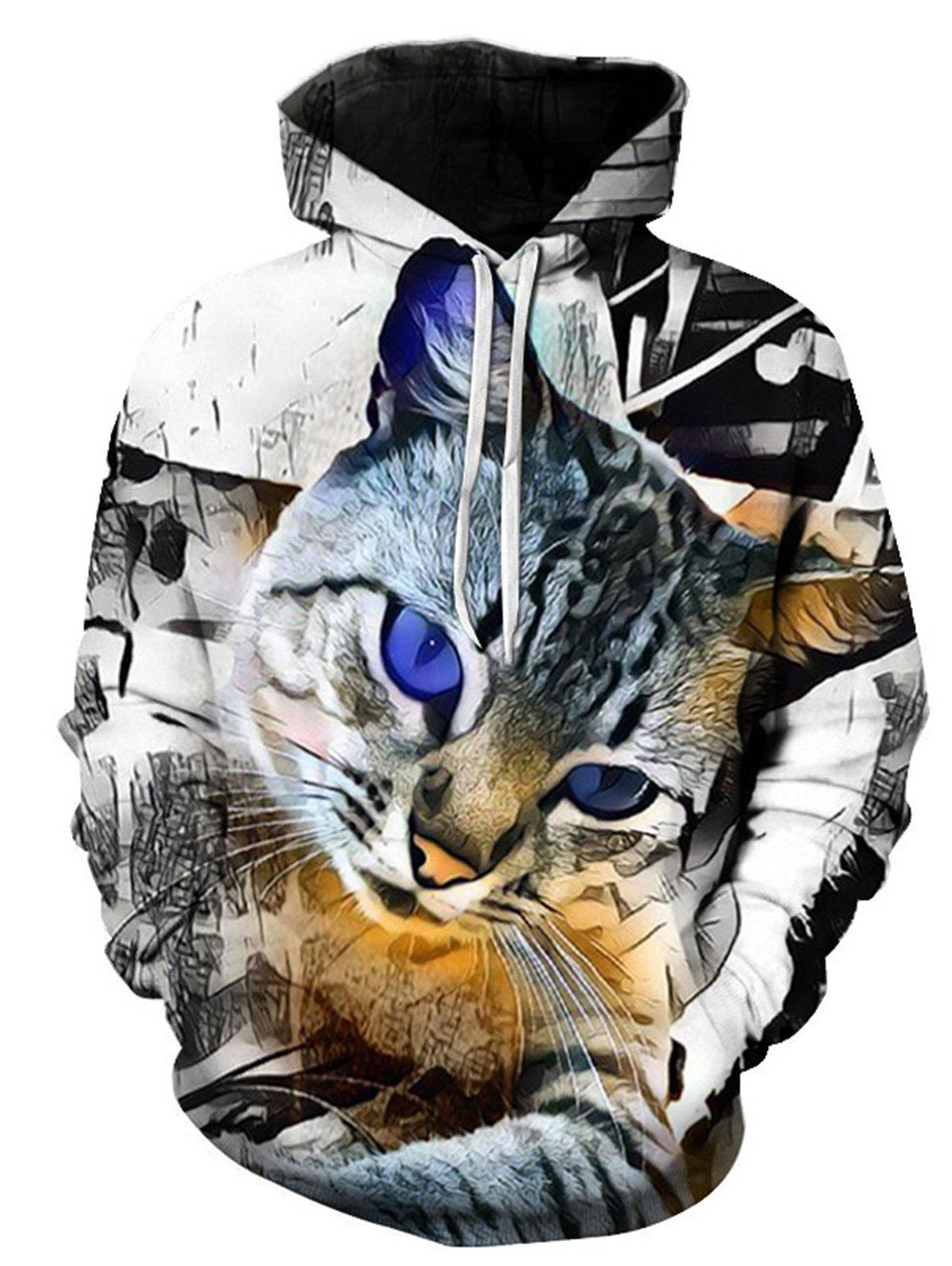 Pouch Pocket 3D Cat Print Pullover HoodieMEN<br><br>Size: M; Color: COLORMIX; Material: Cotton,Polyester; Shirt Length: Regular; Sleeve Length: Full; Style: Fashion; Patterns: 3D,Animal; Weight: 0.4800kg; Package Contents: 1 x Hoodie;