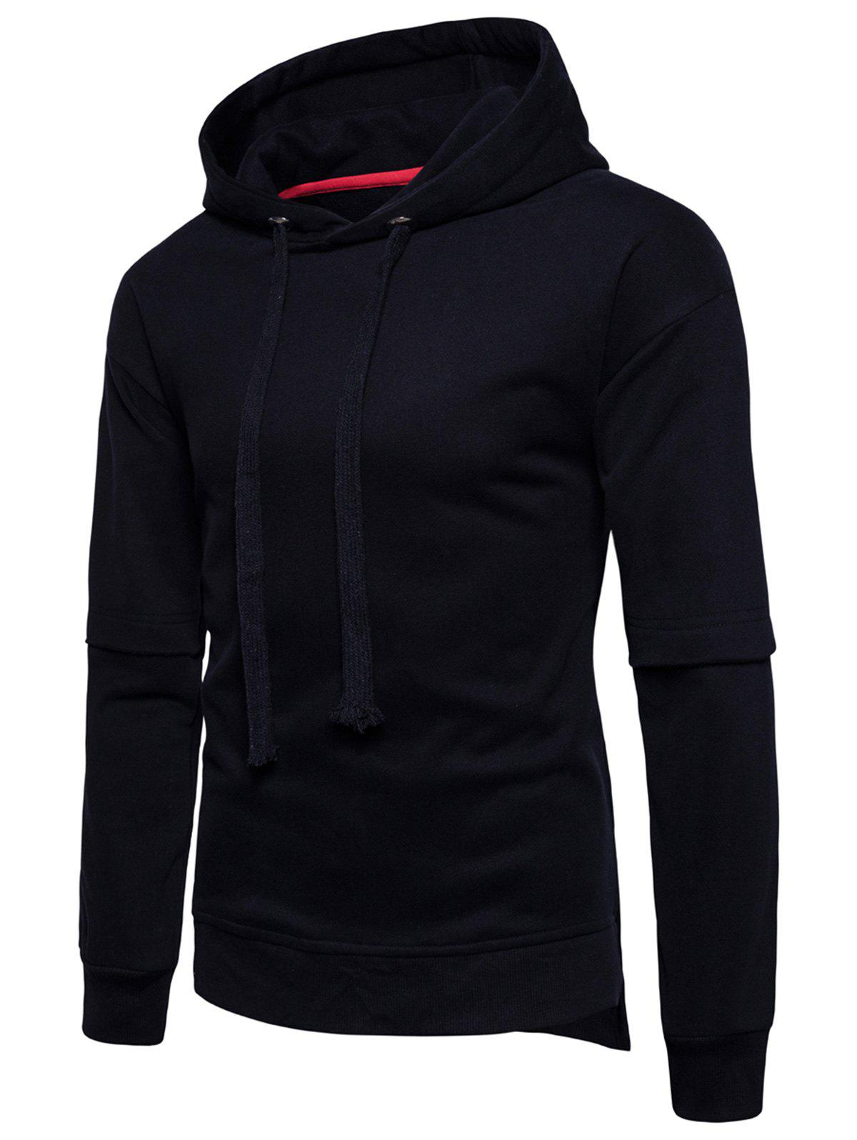 Chic Drop Shoulder Side Slit Fleece Pullover Hoodie