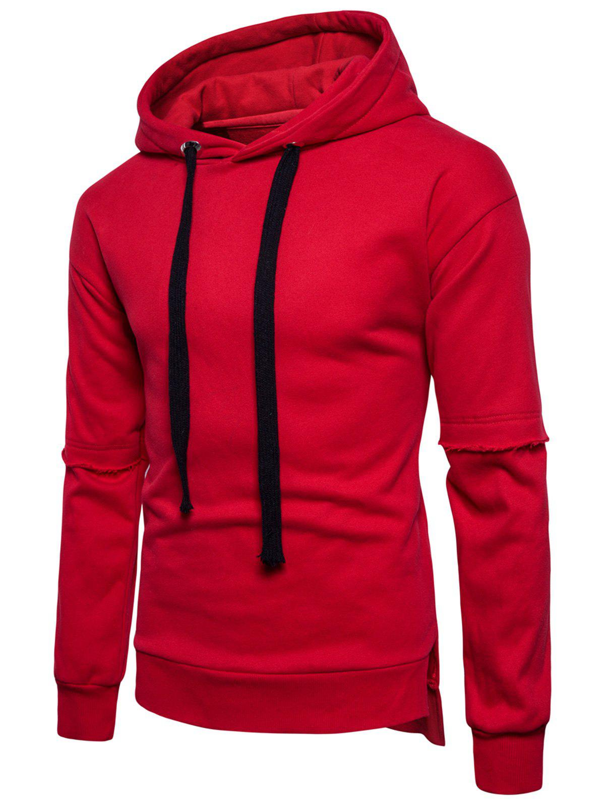 Online Drop Shoulder Side Slit Fleece Pullover Hoodie