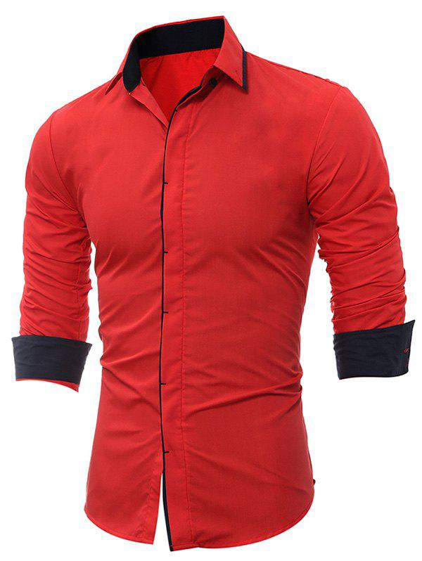 Long Sleeve Cover Placket Edging ShirtMEN<br><br>Size: 3XL; Color: RED; Shirts Type: Casual Shirts; Material: Cotton,Polyester; Sleeve Length: Full; Collar: Turndown Collar; Pattern Type: Solid; Weight: 0.2500kg; Package Contents: 1 x Shirt;