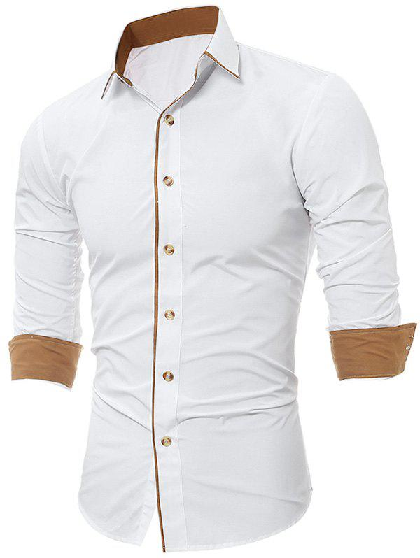 Long Sleeve Color Block Edging ShirtMEN<br><br>Size: L; Color: WHITE; Shirts Type: Casual Shirts; Material: Cotton,Polyester; Sleeve Length: Full; Collar: Turndown Collar; Pattern Type: Solid; Weight: 0.2500kg; Package Contents: 1 x Shirt;