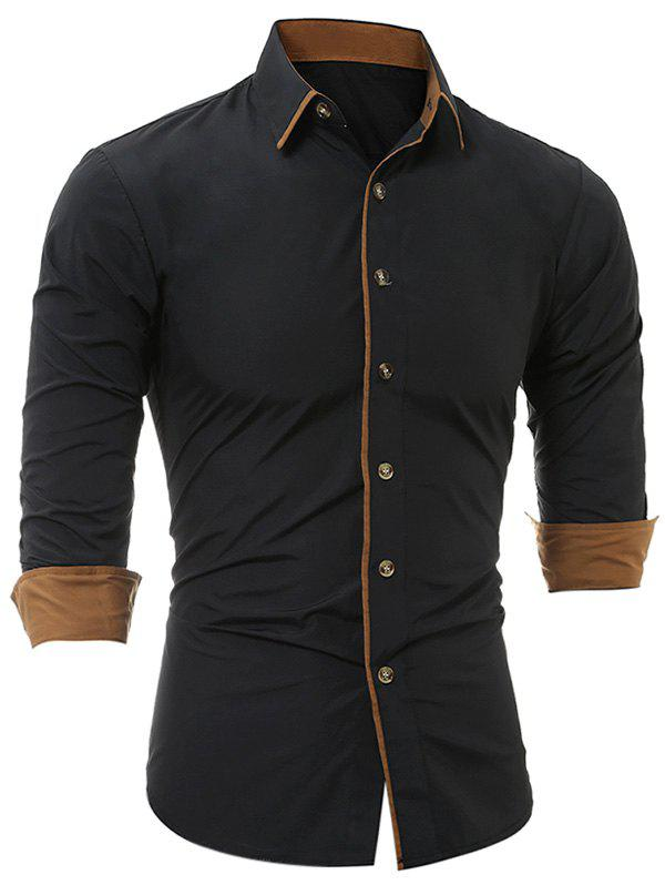 Long Sleeve Color Block Edging ShirtMEN<br><br>Size: L; Color: BLACK; Shirts Type: Casual Shirts; Material: Cotton,Polyester; Sleeve Length: Full; Collar: Turndown Collar; Pattern Type: Solid; Weight: 0.2500kg; Package Contents: 1 x Shirt;