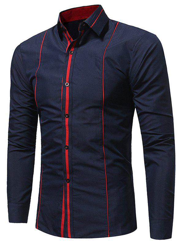 Long Sleeve Color Block Selvedge ShirtMEN<br><br>Size: L; Color: CADETBLUE; Shirts Type: Casual Shirts; Material: Cotton,Polyester; Sleeve Length: Full; Collar: Turndown Collar; Pattern Type: Solid; Weight: 0.2800kg; Package Contents: 1 x Shirt;