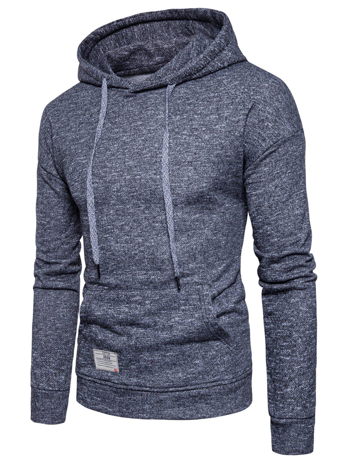 Discount Drop Shoulder Drawstring Knitted Pullover Hoodie