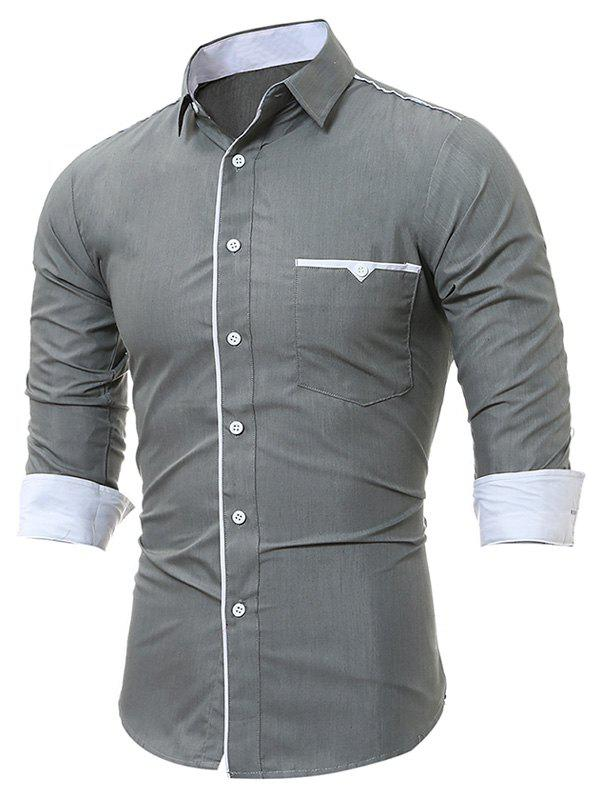 Long Sleeve Edging Pocket ShirtMEN<br><br>Size: XL; Color: GRAY; Shirts Type: Casual Shirts; Material: Cotton,Polyester; Sleeve Length: Full; Collar: Turndown Collar; Pattern Type: Solid; Weight: 0.2300kg; Package Contents: 1 x Shirt;