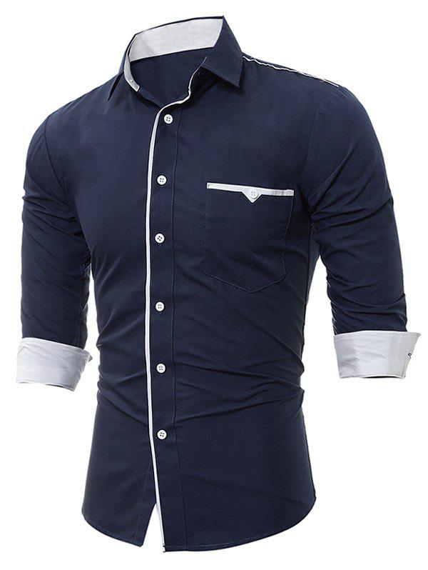 Long Sleeve Edging Pocket ShirtMEN<br><br>Size: L; Color: CADETBLUE; Shirts Type: Casual Shirts; Material: Cotton,Polyester; Sleeve Length: Full; Collar: Turndown Collar; Pattern Type: Solid; Weight: 0.2300kg; Package Contents: 1 x Shirt;
