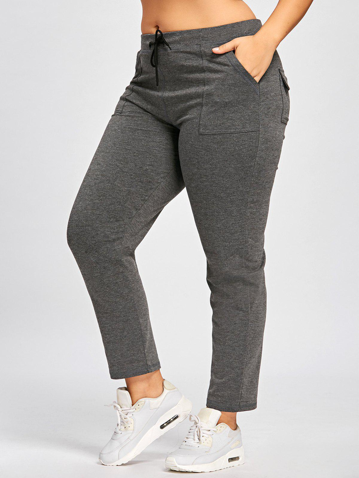 Casual Plus Size Drawstring PantsWOMEN<br><br>Size: 4XL; Color: SMOKY GRAY; Style: Casual; Length: Normal; Material: Polyester,Spandex; Fit Type: Regular; Waist Type: Mid; Closure Type: Drawstring; Pattern Type: Solid; Pant Style: Straight; Weight: 0.4200kg; Package Contents: 1 x Pants;