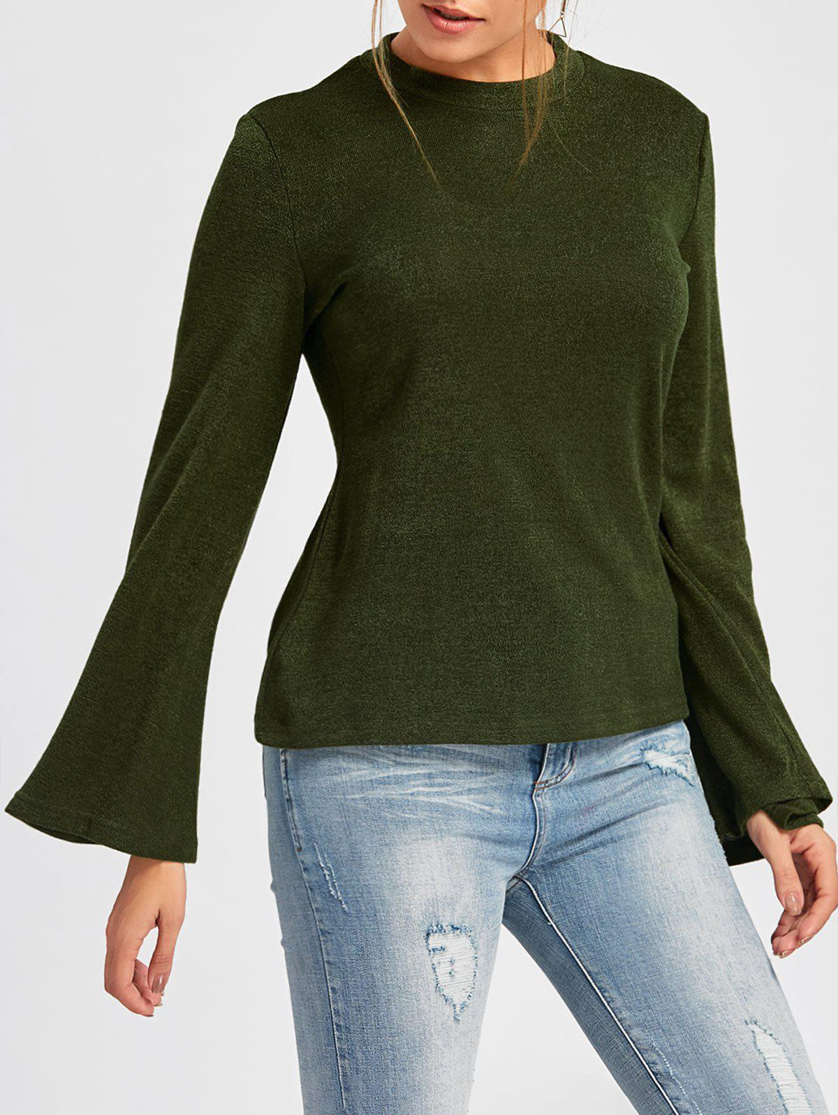 Unique Crew Neck Bell Sleeve Ribbed Sweater