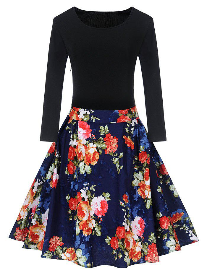 Outfits Vintage Floral Print Pin Up Skater Dress