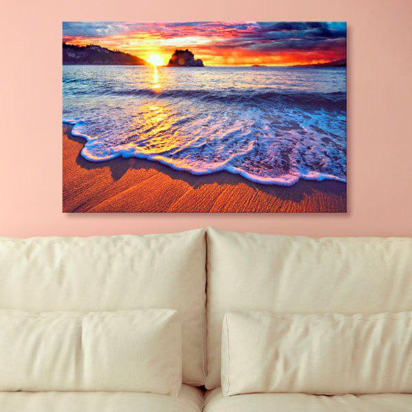 Sunset Beach Print Wall Art Canvas PaintingHOME<br><br>Size: 1PC:24*39 INCH( NO FRAME ); Color: COLORMIX; Subjects: Landscape; Features: Decorative; Style: Fashion; Hang In/Stick On: Bedrooms,Hotels,Living Rooms,Offices,Stair; Shape: Horizontal; Form: One Panel; Frame: No; Material: Canvas; Package Contents: 1 x Canvas Painting;