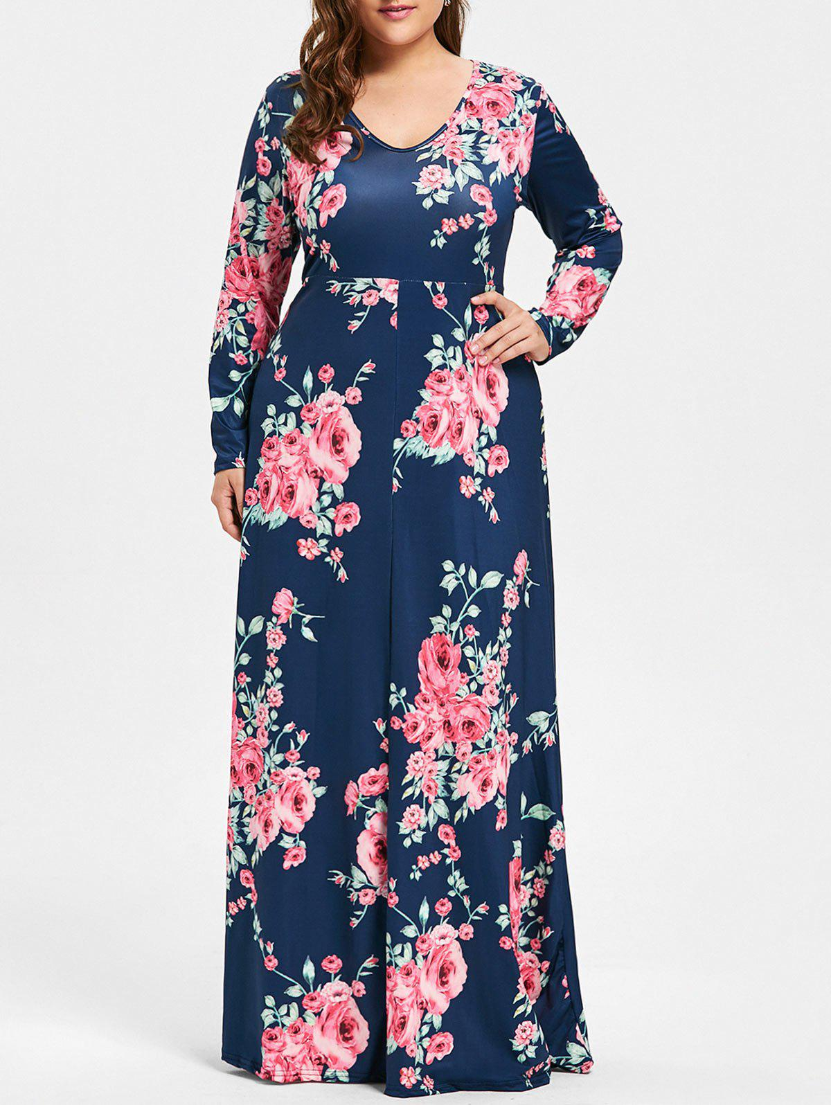 Plus Size Long Floral Maxi DressWOMEN<br><br>Size: 5XL; Color: PURPLISH BLUE; Style: Casual; Material: Cotton; Silhouette: A-Line; Dresses Length: Floor-Length; Neckline: V-Neck; Sleeve Length: Long Sleeves; Pattern Type: Floral; With Belt: No; Season: Fall; Weight: 0.5050kg; Package Contents: 1 x Dress;