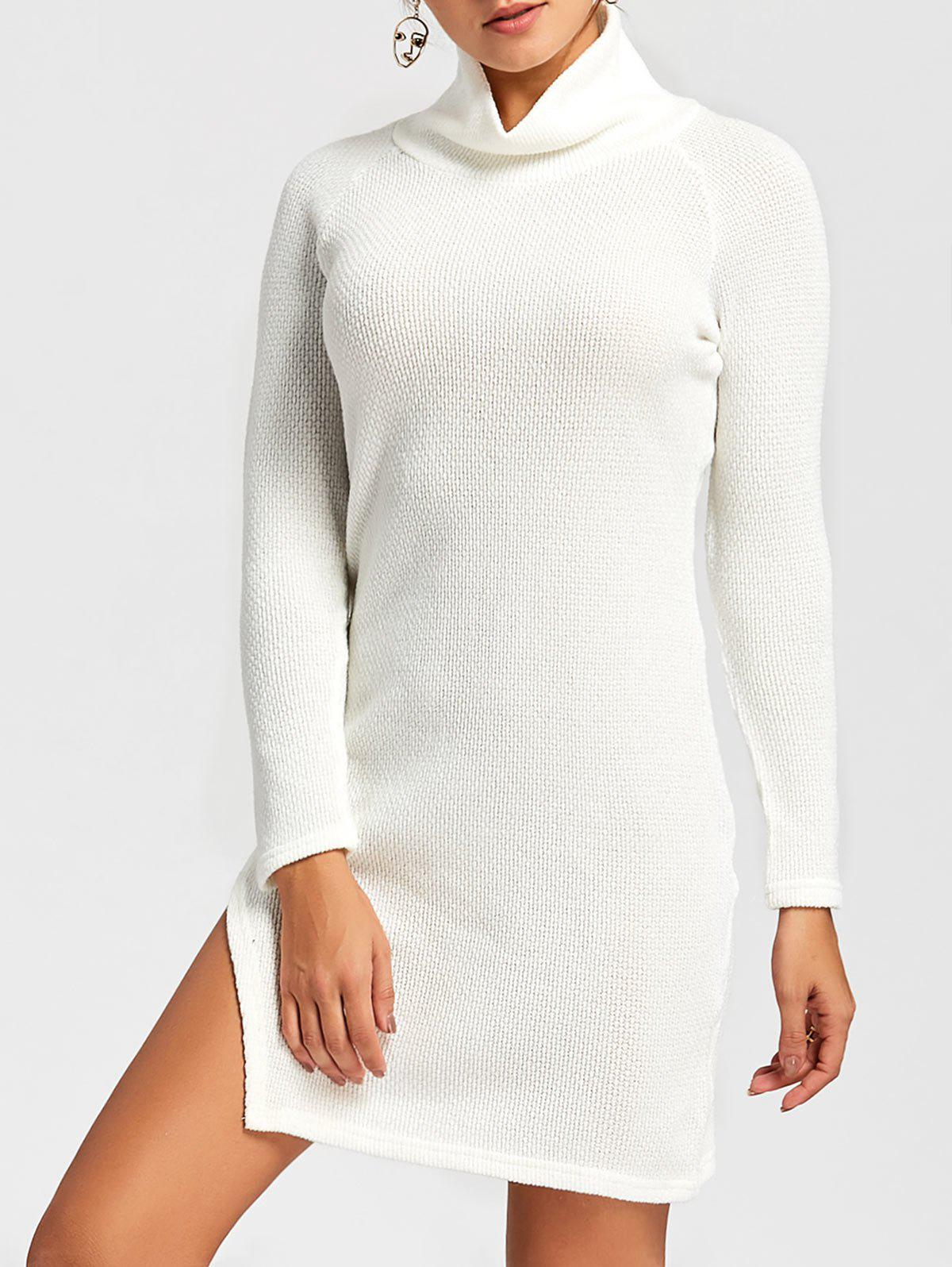 Shop Side Slit Turtleneck Mini Sweater Dress