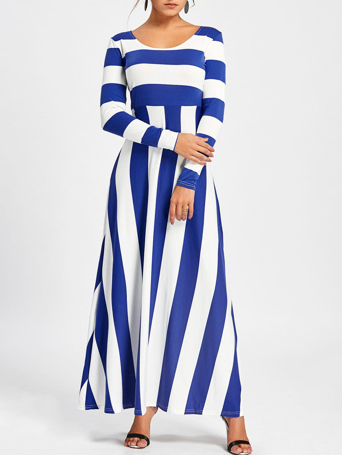Long Sleeve Striped Maxi DressWOMEN<br><br>Size: 2XL; Color: BLUE; Style: Brief; Material: Polyester,Spandex; Silhouette: A-Line; Dresses Length: Ankle-Length; Neckline: Round Collar; Sleeve Length: Long Sleeves; Pattern Type: Striped; With Belt: No; Season: Fall,Spring; Weight: 0.5500kg; Package Contents: 1 x Dress; Occasion: Casual;