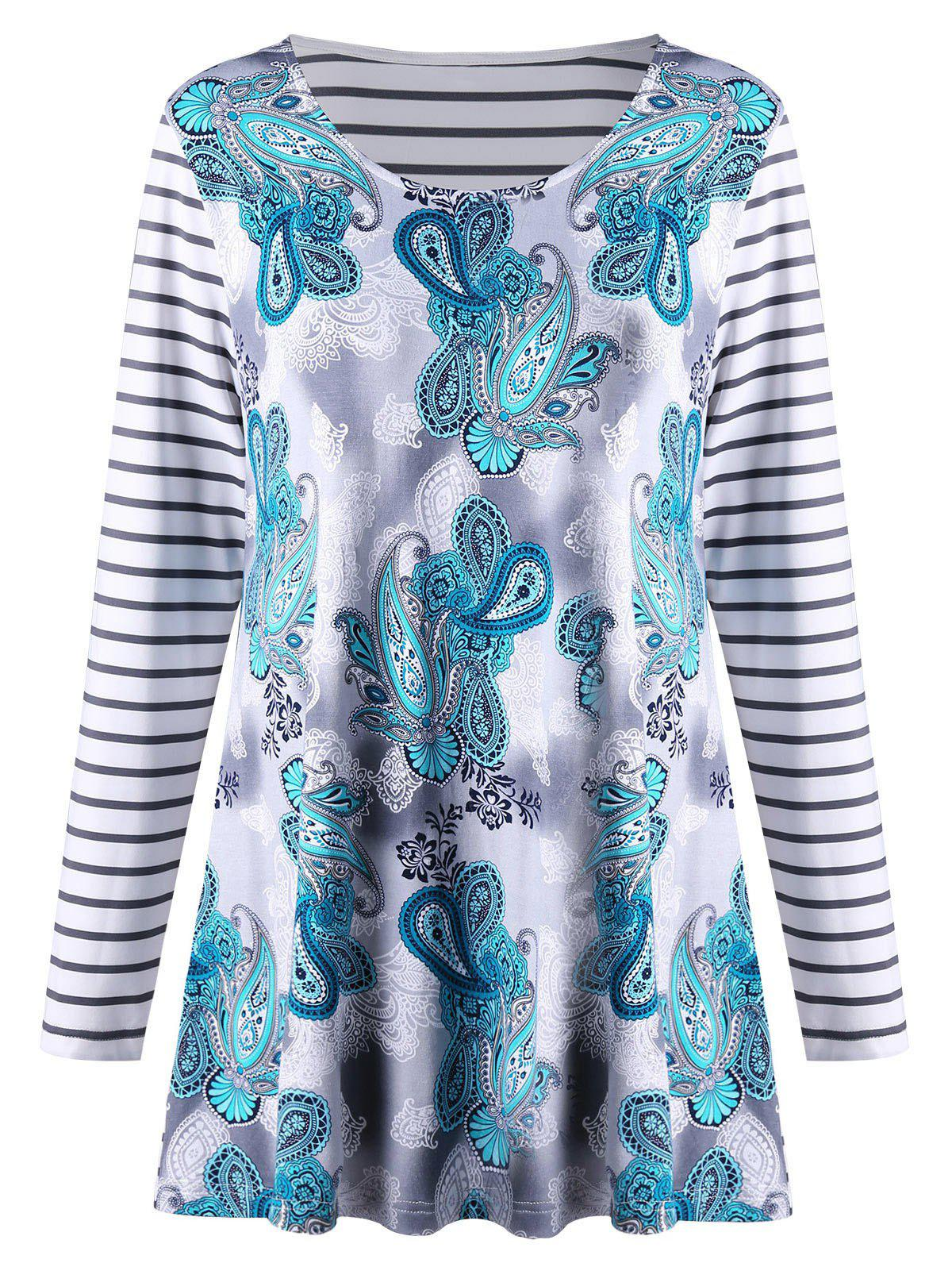 Plus Size Long Sleeve Paisley Striped TopWOMEN<br><br>Size: XL; Color: STRIPE; Material: Polyester,Spandex; Shirt Length: Long; Sleeve Length: Full; Collar: Scoop Neck; Style: Casual; Season: Fall,Spring; Pattern Type: Paisley,Striped; Weight: 0.3000kg; Package Contents: 1 x T-shirt;