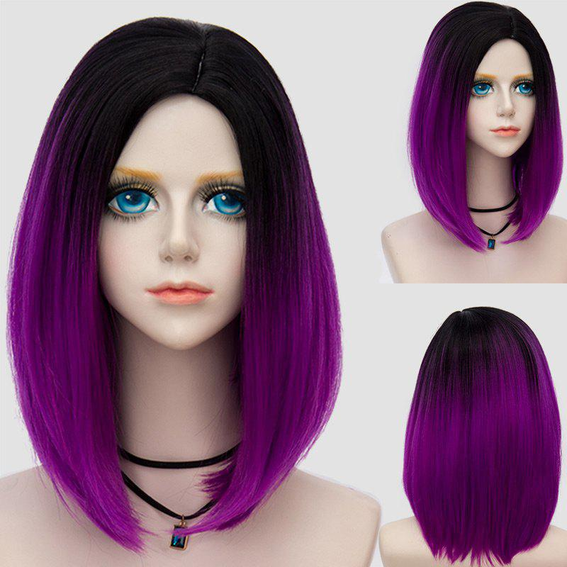 Medium Side Parting Straight Bob Ombre Synthetic Party WigHAIR<br><br>Color: BLACK AND PURPLE; Type: Full Wigs; Cap Construction: Capless; Style: Straight; Cap Size: Average; Material: Synthetic Hair; Bang Type: Side; Length: Medium; Occasion: Party; Length Size(CM): 32; Weight: 0.2220kg; Package Contents: 1 x Wig;