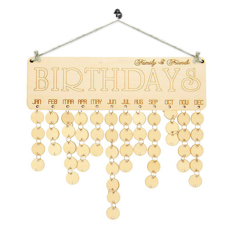 Family And Friends Birthdays Calendar DIY Wooden Reminder BoardHOME<br><br>Color: IVORY YELLOW; Candle Type: Wood Crafts; Use: Home Decoration; Material: Wood; Weight: 0.1700kg; Package Contents: 1 x Birthday Board (Set);