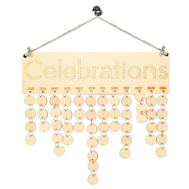 DIY Wooden Celebration Days Birthday Calendar Reminder BoardHOME<br><br>Color: IVORY YELLOW; Candle Type: Wicker Crafts; Use: Home Decoration; Material: Wood; Weight: 0.1700kg; Package Contents: 1 x Birthday Board (Set);