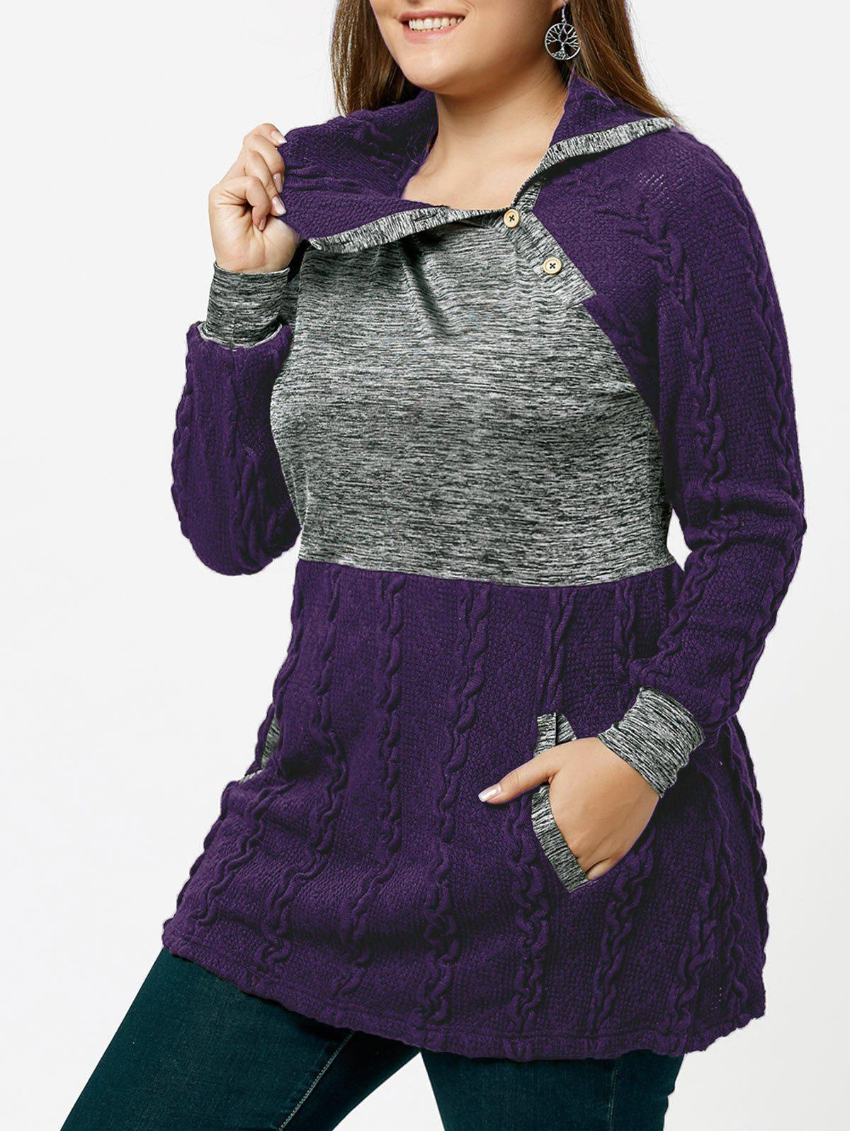 Plus Size Pullover Pockets Cable Knit SweaterWOMEN<br><br>Size: 5XL; Color: PURPLE; Type: Pullovers; Material: Polyester,Spandex; Sleeve Length: Full; Collar: Turn-down Collar; Technics: Computer Knitted; Style: Casual; Season: Fall,Spring,Winter; Pattern Type: Others; Weight: 0.5000kg; Package Contents: 1 x Sweater;