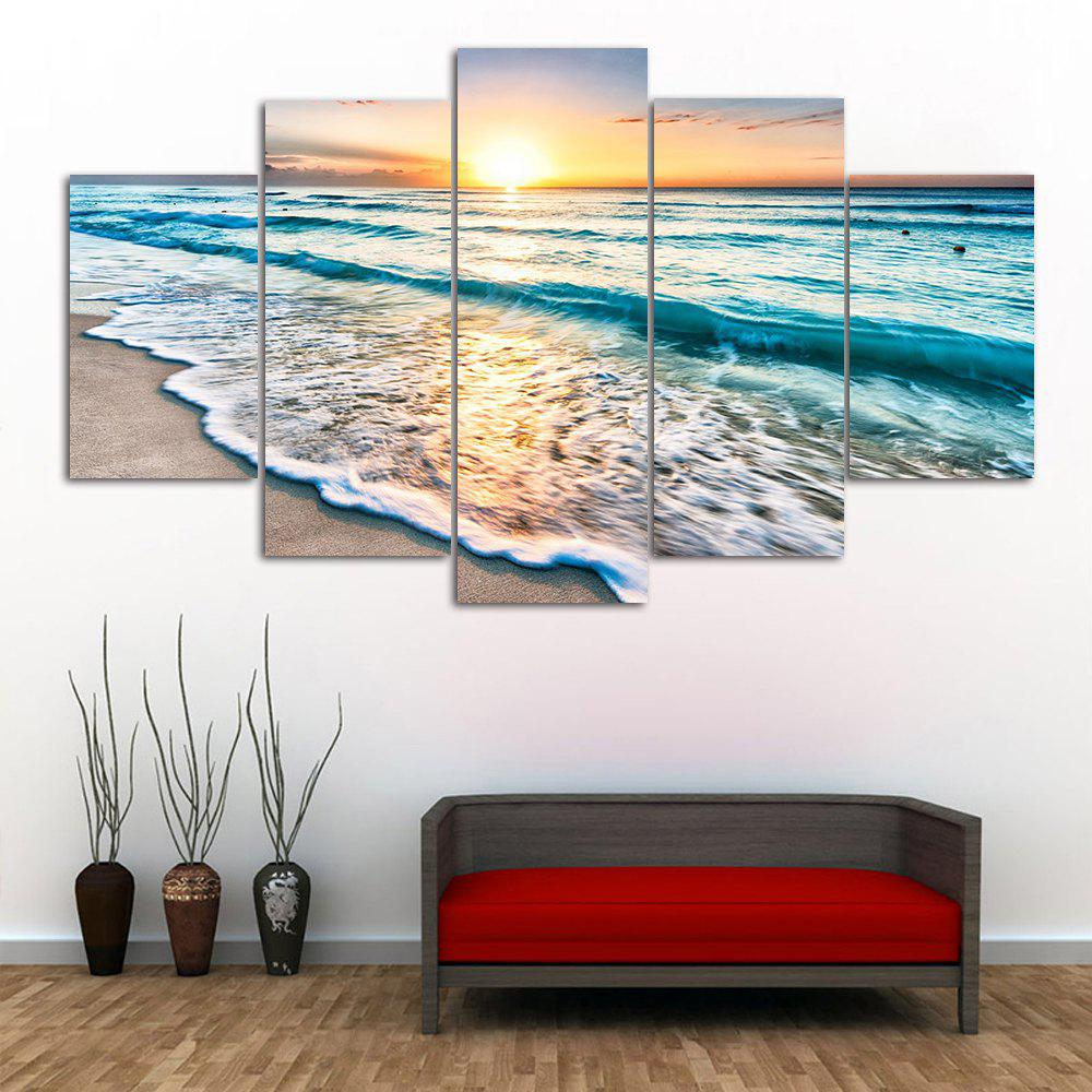 Sunset Beach Print Split Canvas Wall Art PaintingsHOME<br><br>Size: 1PC:10*24,2PCS:10*16,2PCS:10*20 INCH( NO FRAME ); Color: COLORMIX; Subjects: Seascape; Features: Decorative; Style: Fashion; Hang In/Stick On: Bedrooms,Hotels,Living Rooms,Offices,Stair; Shape: Horizontal; Form: Five Panels,Four Panels; Frame: No; Material: Canvas; Package Contents: 1 x Canvas Painting (Set);