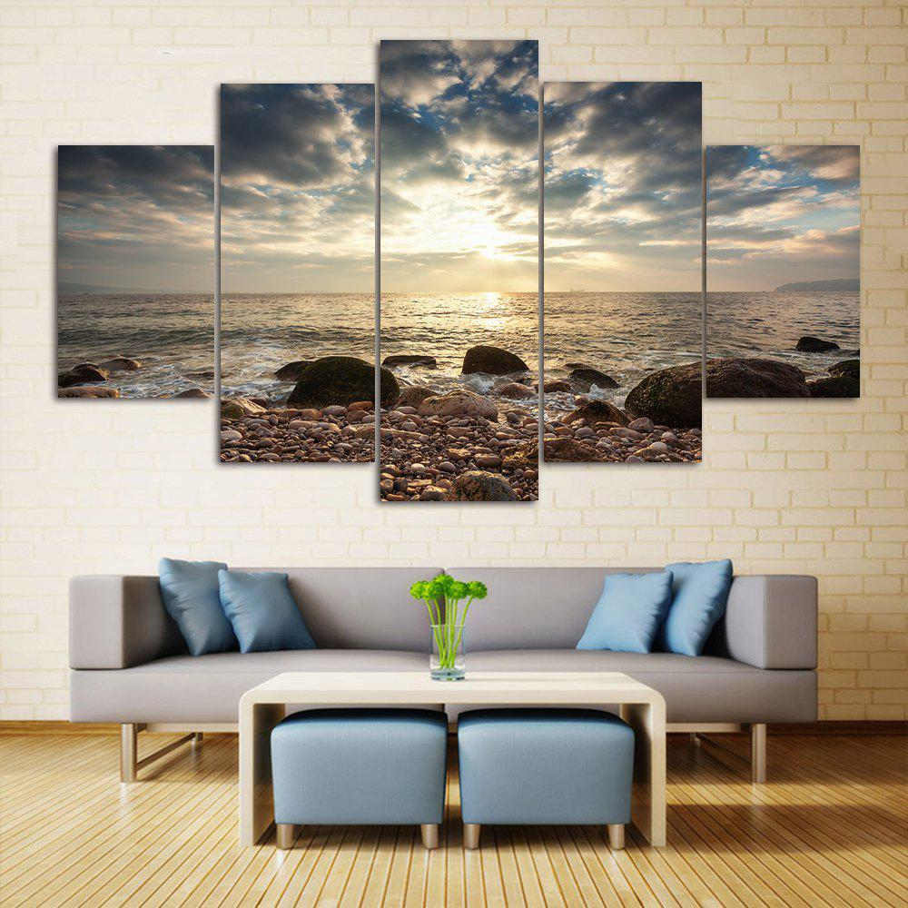 Sea Stone Beach Print Split Canvas Wall Art PaintingsHOME<br><br>Size: 1PC:10*24,2PCS:10*16,2PCS:10*20 INCH( NO FRAME ); Color: COLORMIX; Subjects: Seascape; Features: Decorative; Style: Fashion; Hang In/Stick On: Bedrooms,Hotels,Living Rooms,Offices,Stair; Shape: Horizontal; Form: Five Panels,Four Panels; Frame: No; Material: Canvas; Package Contents: 1 x Canvas Painting (Set);