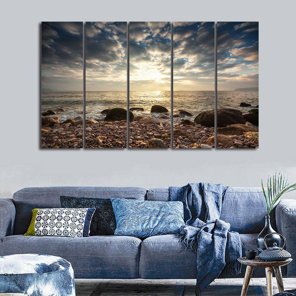 Sea Stone Beach Print Split Canvas Wall Art PaintingsHOME<br><br>Size: 5PCS:12*31 INCH( NO FRAME ); Color: COLORMIX; Subjects: Seascape; Features: Decorative; Style: Fashion; Hang In/Stick On: Bedrooms,Hotels,Living Rooms,Offices,Stair; Shape: Horizontal; Form: Five Panels,Four Panels; Frame: No; Material: Canvas; Package Contents: 1 x Canvas Painting (Set);