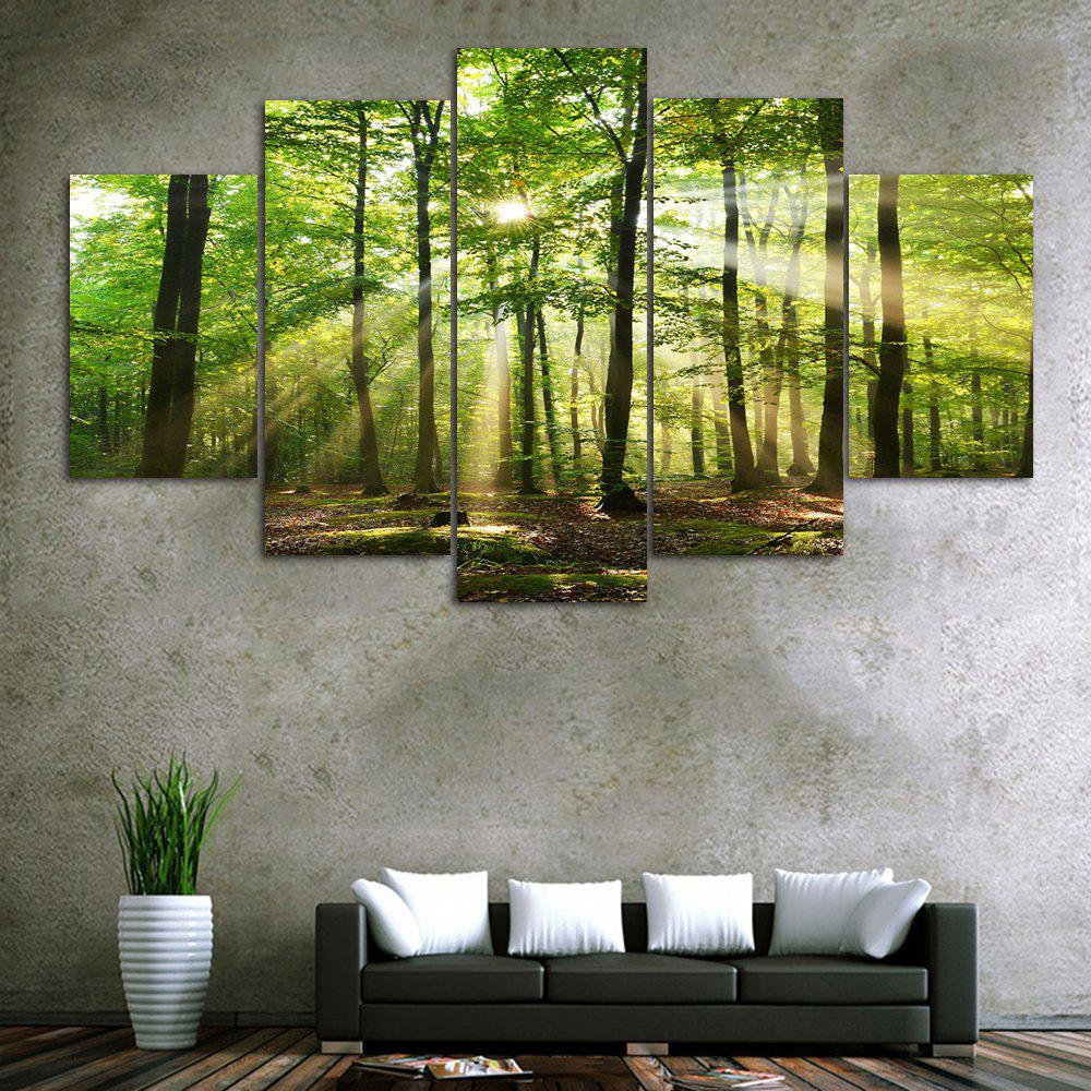 Sunlight Forest Print Unframed Split Canvas PaintingsHOME<br><br>Size: 1PC:10*24,2PCS:10*16,2PCS:10*20 INCH( NO FRAME ); Color: GREEN; Subjects: Landscape; Features: Decorative; Hang In/Stick On: Bedrooms,Hotels,Living Rooms,Offices,Stair; Shape: Horizontal; Form: Five Panels,Four Panels; Frame: No; Material: Canvas; Package Contents: 1 x Canvas Paintings (Set);