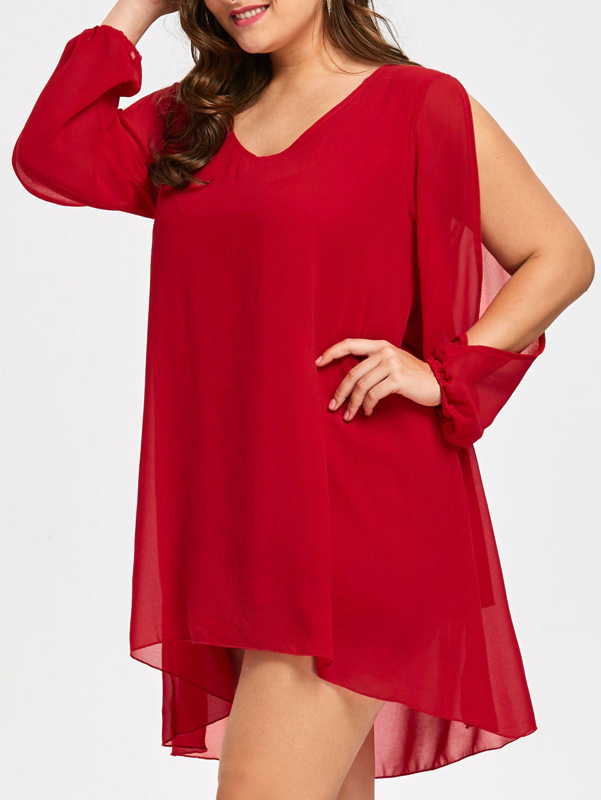 Plus Size Flowy Chiffon Slit Sleeve TopWOMEN<br><br>Size: 2XL; Color: RED; Material: Polyester; Fabric Type: Chiffon; Shirt Length: Long; Sleeve Length: Full; Collar: V-Neck; Style: Casual; Season: Fall,Spring; Embellishment: Ruffles; Pattern Type: Solid; Weight: 0.3200kg; Package Contents: 1 x Top;