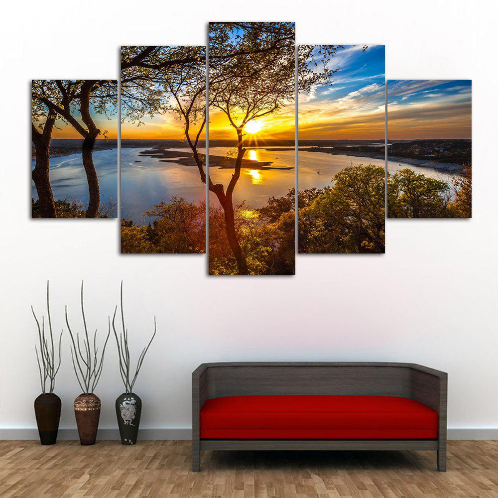 Sunrise River Print Unframed Split Canvas PaintingsHOME<br><br>Size: 1PC:10*24,2PCS:10*16,2PCS:10*20 INCH( NO FRAME ); Color: COLORMIX; Subjects: Seascape; Features: Decorative; Hang In/Stick On: Bedrooms,Hotels,Living Rooms,Offices,Stair; Shape: Horizontal; Form: Five Panels,Four Panels; Frame: No; Material: Canvas; Package Contents: 1 x Canvas Paintings (Set);