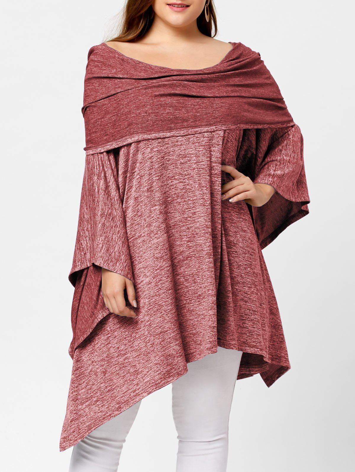 Off Shoulder Plus Size Asymmetric Tunic TopWOMEN<br><br>Size: ONE SIZE; Color: RED; Material: Cotton Blend,Spandex; Shirt Length: Long; Sleeve Length: Full; Style: Fashion; Pattern Style: Solid; Season: Fall,Spring; Weight: 0.6290kg; Package Contents: 1 x Top;