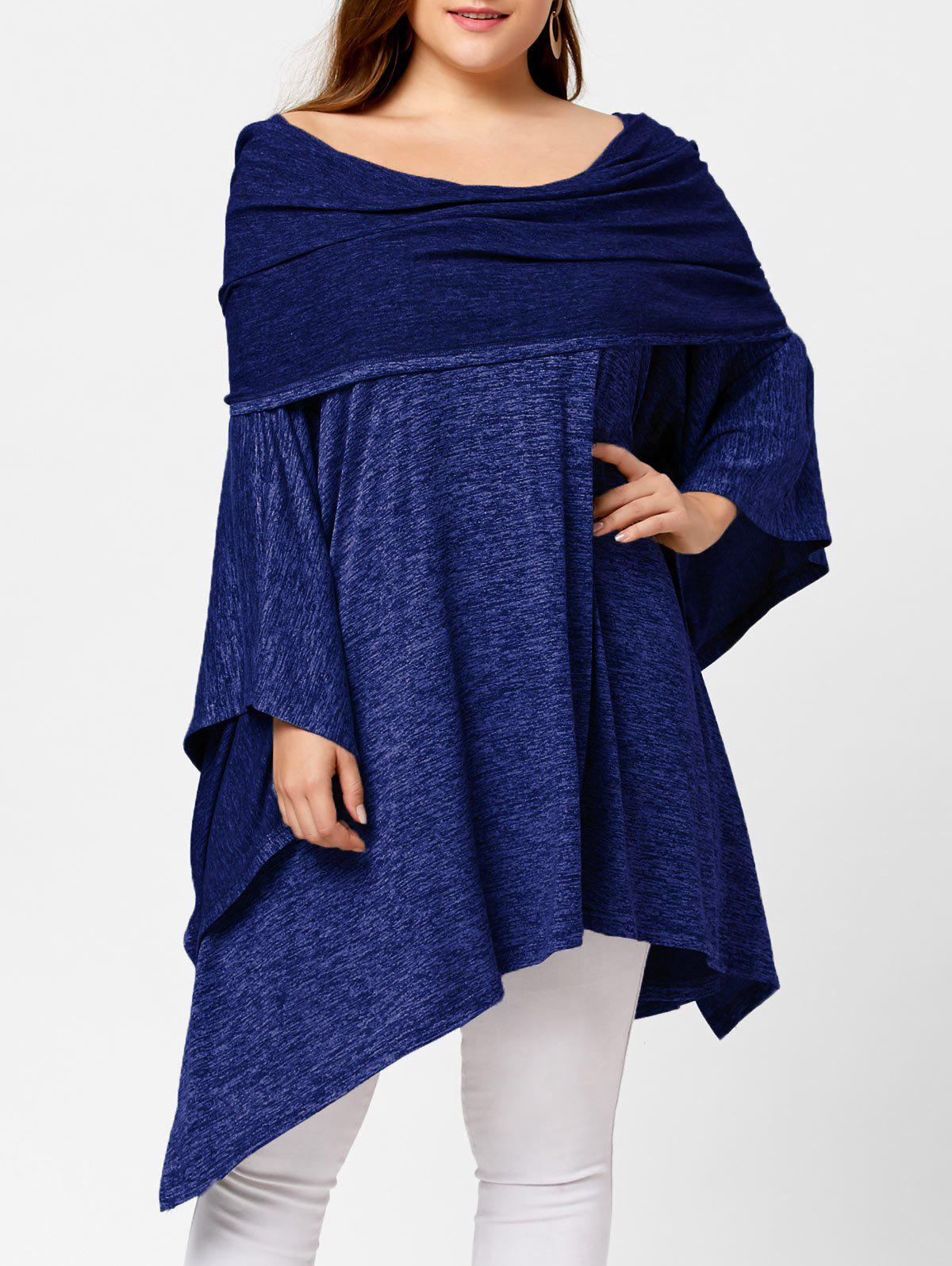 Off Shoulder Plus Size Asymmetric Tunic TopWOMEN<br><br>Size: ONE SIZE; Color: DEEP BLUE; Material: Cotton Blend,Spandex; Shirt Length: Long; Sleeve Length: Full; Style: Fashion; Pattern Style: Solid; Season: Fall,Spring; Weight: 0.6290kg; Package Contents: 1 x Top;