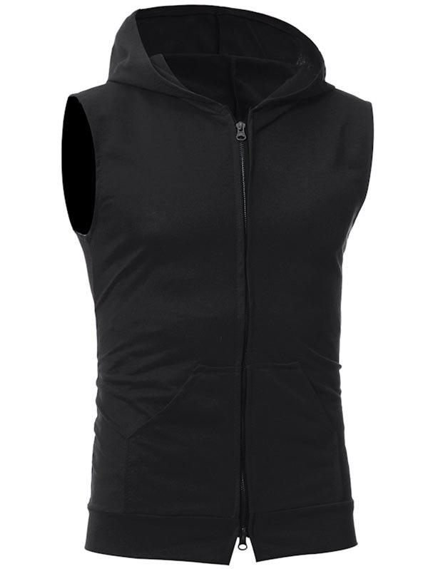 Trendy Zip Up Kangaroo Pocket Hooded Vest