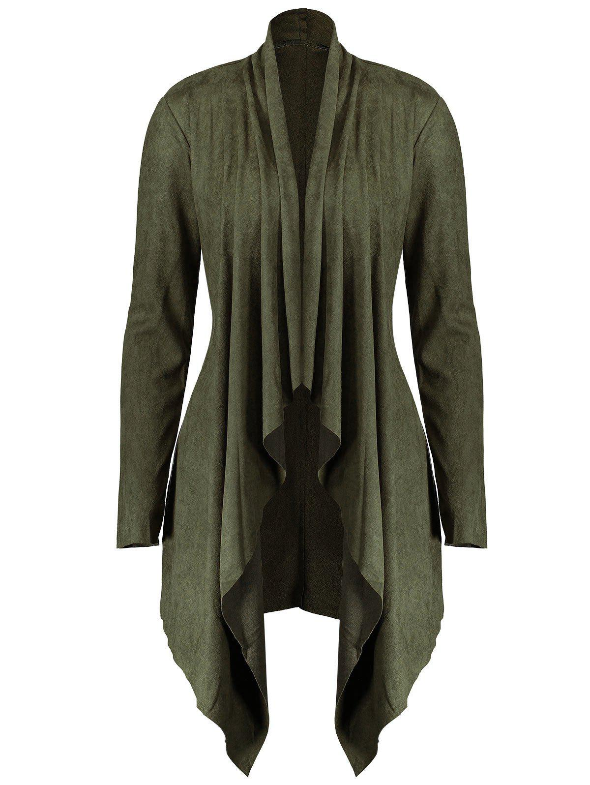 Long Plus Size Faux Suede JacketWOMEN<br><br>Size: 5XL; Color: ARMY GREEN; Clothes Type: Jackets; Material: Polyester,Spandex; Type: Wide-waisted; Shirt Length: Long; Sleeve Length: Full; Collar: Stand-Up Collar; Pattern Type: Solid; Style: Fashion; Season: Fall,Spring; Weight: 0.4200kg; Package Contents: 1 x Jacket;